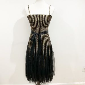 Cache gold black a-line cocktail dress Sz 4